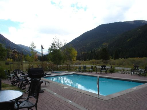 The swimming pool at the Red Hawk Condos in Keystone Resort