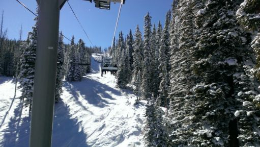 View riding up the lift at Keystone Resort