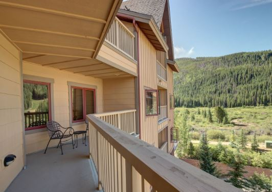 Beautiful oversized balcony at red hawk lodge condo