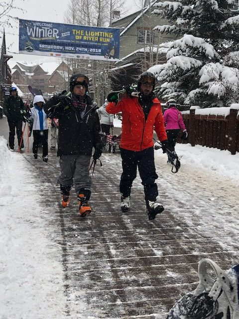Skier Walking in Keystone Village