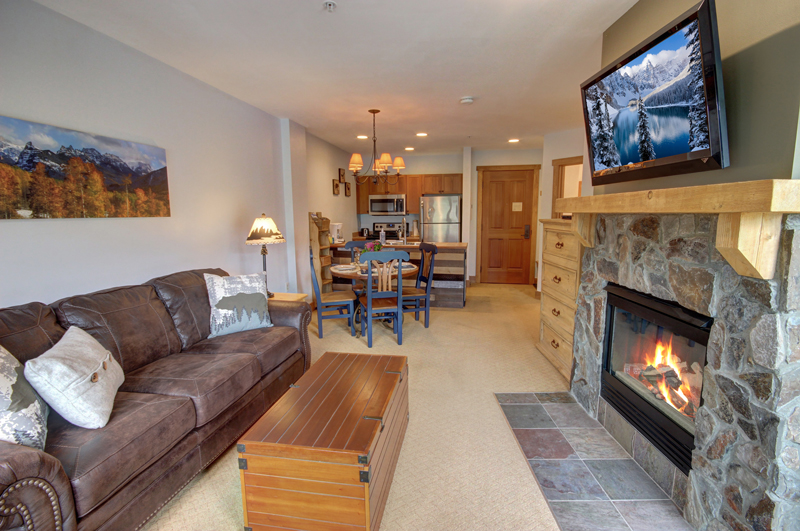 Living Room with Fireplace at Red Hawk in River Run