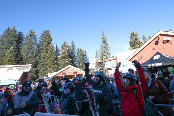 Excited Skiers and Riders wait for the gondola