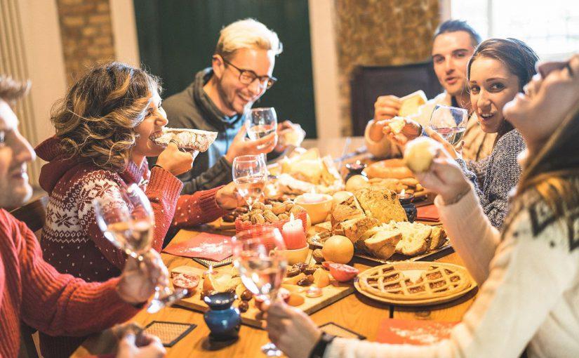 Friends enjoying a Thanksgiving Meal