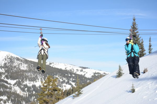 Heading down the zip line on a winter day