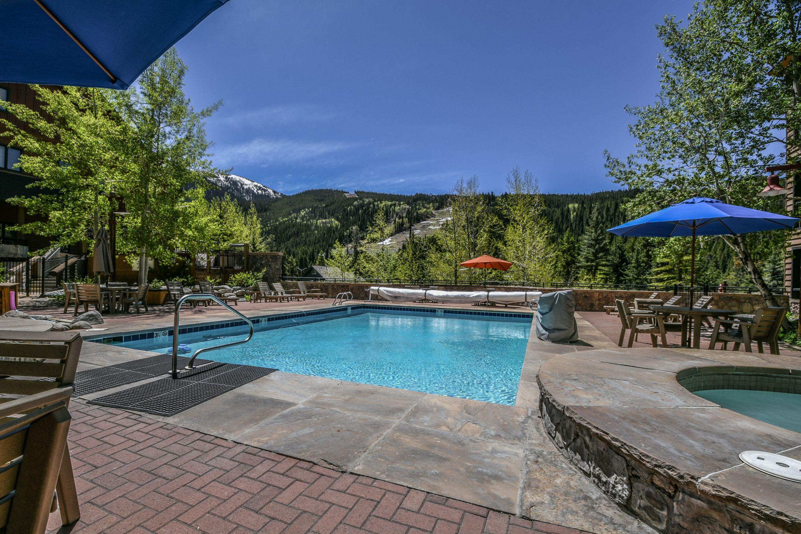 Heated outdoor pool with Mountain View at Dakota Lodge Keystone CO